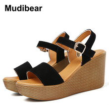 Mudiber genuine leather Summer sandals Roman women sandal shoes 2017 new Wedges fish head  leather sandals shoes Size 34-43