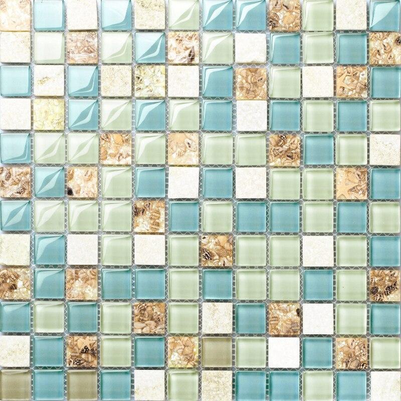 Blue mosaic tile backsplash