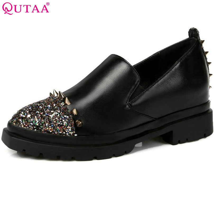 QUTAA 2017 Casual Ankle Boots Low Heels Boots Platform Shoes Autumn Winter Women Boots Shoes size 34-43<br>