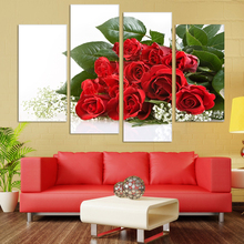 Fashion 4 Panels/A Set Rose Wedding Decoration Wall Painting Best Gift More Perfect Flowers Picture Canvas Home Decor Poster(China)