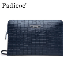 Padieoe Luxury Crocodile Pattern Design Clutch Wallet Genuine Leather Men's Day Clutch Big Capacity Durable Purse for Ipad mini