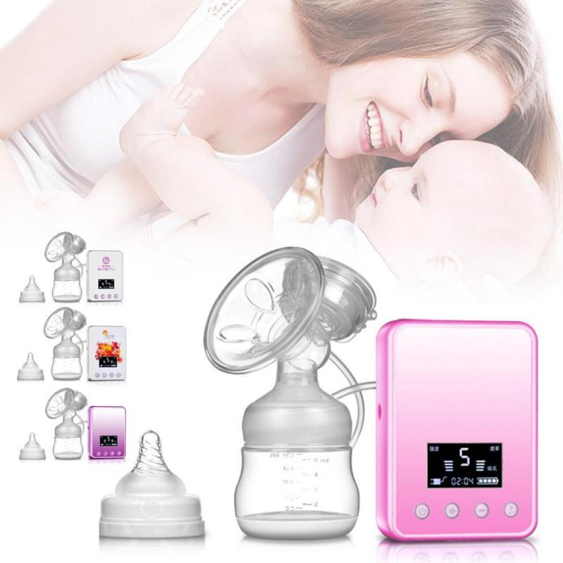 LCD Monitor Electric Breast Pump Powerful Nipple Suction USB Electric Breast Pump with milk bottle for baby feeding BPA free D3<br>