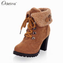 Odetina Handmade Vintage High Heel Ankle Boots Suede Large Size Fur Snow Boots Women 2016 Winter Boots Lace Up Ladies Booties Pu