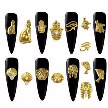 20pcs Gold Metal Egyptian pharaoh Cleopatra design alloy charms for nail art Decoration Accessories Supplies Tools 2018 new(China)