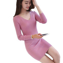 Buy Autumn/Winter V neck Women Full Sleeve Package Hip Sweater Sexy Dress Knit Casual Pullover Vestidos Bottoming Robe Dress TT3246 for $9.56 in AliExpress store