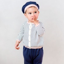 Brand Cotton2016Spring child kid infant toddler baby boy clothing set home wear stripes knitted coat/top/cardigan+pant/trousers(China)