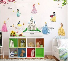 4 styles 33*43 Inch  Disney Princesses Wall Stickers For Kids Rooms girls Snow White Decals Art Wall Hone Decor Child Wallpaper