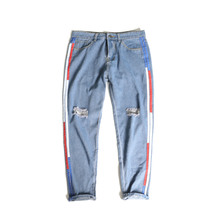 2017 summer new Stripe Around Holes track Pants mens Tide ripped Jeans(China)