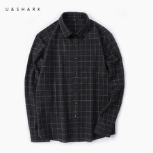 Buy U&SHARK Autumn Black Plaid Shirt Men Long Sleeve England Style Social Male Shirt 100% Cotton Flannel Casual Shirts High for $21.29 in AliExpress store