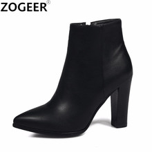 Brand New 2017 Autumn Sexy Women Ankle Boots Fashion Black Motorcycle Boots Pointed Toe High Heel pu Leather Shoes Woman