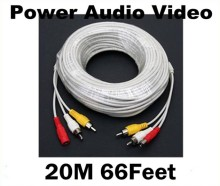 20M 66 Feet RCA Power Audio Video AV DC Cable For CCTV Security Camera DVR Free Shipping