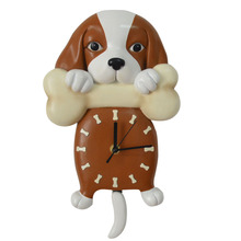 Cartoon Wall Pendulum Clock Cute Puppy Dog Design Wall Clock Birthday Gift Children Room Decoration Accessories Wall Decor(China)