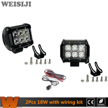 WEISIJI 2Pcs/Set 18W LED Ligfht Bar for 4*4 Offroad Jeep Hummer Ford SUV Train Truck Ship 4in Work Light Bar with CREE Chips(China)