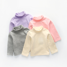 CAVIGOUR new cotton autumn girls basic shirts winter turtleneck collar t shirt for 1-4 years baby girl long sleeve clothes