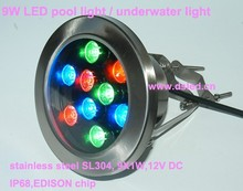 Stainless steel,good quality,high power 9W LED RGB pool light, RGB underwater light,9*1W,12V DC,EDISON chip,IP68,CE