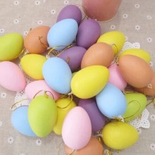 12pcs Easter Decoration For Home Kids Children DIY Painting Egg With Rope Gifts Plastic Hanging Easter Egg Mixed Color 40x60mm