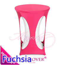 Fuchsia colour lycra high bar table linen lycra table top cover for wedding banquet and party cocktail table decoration