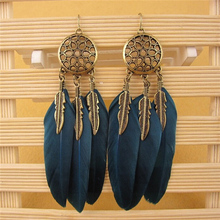 SHUANGR Fashion boho Feather tassel Dreamcatcher earring vintage bohemia women jewelry new year gift TL041/TL044(China)