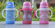 (5 Pcs/Lot) Lovely Girl Cartoon Hello Kitty Stainless Steel Children's 6~12Hours 300ML Vacuum Flask Water Bottles