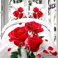 Home Textiles 100% Cotton 3D Bedclothes 4pcs Bedding Sets  King Or Queen Red Flower