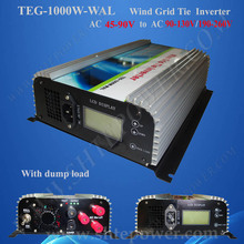 Three Phase AC 45-90v to AC 100v 110v 120v 220v 230v 240v 1000w wind power grid tie inverter(China)