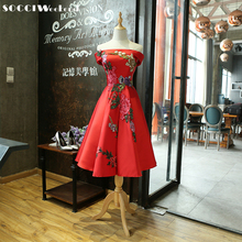 SOCCI Red Cocktail Dress  New Boat Neck Tea-length Formal Wedding Party Dresses Bride Elegant Banquet Appliques Flower Gown
