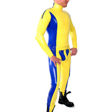 Buy Men's Codpiece Catsuit Entry Crotch Zip Latex Tights bodysuit Yellow Blue Color 0.4mm Thickness