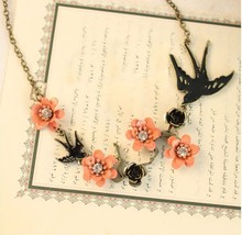Min. order $10 ! Wholesale 2017 New Arrival Pink  Little Flower Cute Fly Swallow / Bird Pendant  Necklace Fashion Jewelry
