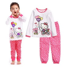 Retail Baby Girls Sleepwear Children Clothing Set Hello Kitty balloon Pajamas Cartoon Pattern Shirt and Pants 2pcs Girls Clothes