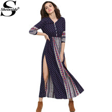 Sheinside 2016 Summer/Spring Bohemia Boho Print Long Beach Dresses Women Navy V Neck Half Sleeve Vintage Print Split Maxi Dress