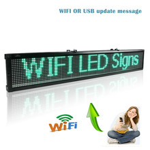 40 x 6.3 inch Green LED sign wireless and usb programmable rolling information P7.62 indoor led display board