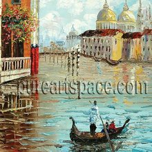 Free shipping! Beautiful handpainted Venice boat oil paintings - palette knife paintings