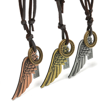 3 Color Women Men Metal Angel Wings Cross Pendant Choker Necklaces Leather Chain Necklace Jewelry