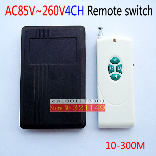 10-300m wireless remote distance  220v4ch RF 315MHZ/433MHZ remote control switch and the transmitter have power switch<br><br>Aliexpress