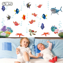 TIE LER New Fish Seabed NEMO Wall Sticker Cartoon Wall Sticker Decor Removable Vinyl Nursery Kids Room Decals(China)