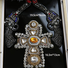 Best price Large Pistol model bead embroidery patch applique stick cross emblem diy garment accessories crucifix patch A1333
