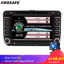 2 Din 7 Inch Car DVD Player For Skoda VW Seat GPS Navigation Bluetooth FM Double Din Radio Stereo Free Europe Map(China)