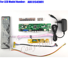 HDMI CVBS RF USB VGA AV TV Controller Board + Inverter + Lvds Cable + Remote Kits for B154EW01 1280x800 1ch 6 bit LCD Panel