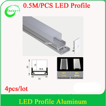 4pcs 0.5M Recessed Aluminum LED Channel Aluminium with milk cover Profile  for LED Strip within16mm Width
