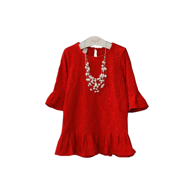 Fashion Princess Flower Girl Dresses For Weddings 2016 High Quality Red Flare Sleeve Toddler Girl Lace Dresses Kids Costume 2-7Y<br><br>Aliexpress