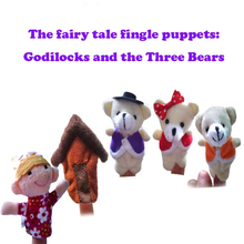 1set mini toys the fairy tale finger puppets Godilocks and the Three Bears baby early education song toys plush finger dolls