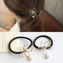 1pc New Arrival Women scrunch Rhinestone Hollow Flower Pearls Hair Ponytail Headband Hair Accessories Lady Elastic Hair Band(China)