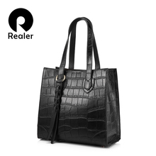 REALER brand genuine leather women handbag female casual tote bag Shoulder bag large capacity with tassel and alligator prints(China)