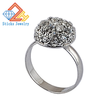 Elegant Lindo Aneis Full Paved Bud Round Shaped Vintage Ring Rhodium Plated Simulated Rhinestones for Women Jewelry