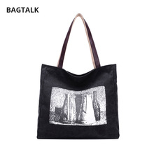 BAGTALK 1175 Full White Landscape Printing Causal Women Handbags Ladies Shoulder Bag For Daily Vintage Cotton Canvas Tote Bag