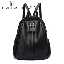 Herald Fasion PU Leather Backpacks for Adolescent Girls Zipper Backpack Female Backpack to School Notebooks Laptop College bag(China)