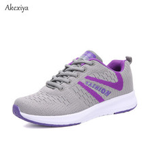 Akexiya Women Sneakers Men Outdoor New Running Shoes Comfortable Sport Breathable Fly Wire Air Mesh Walking Shoes(China)