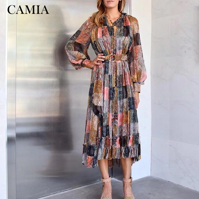 CAMIA new printed single-breasted midi dress puff sleeve print pleated dress catwalk colorblock dress Платье