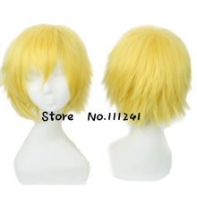 Uzumaki Naruto Golden Short Shaggy Layered Cosplay Wig Heat Resistance Party Hair Free Shipping