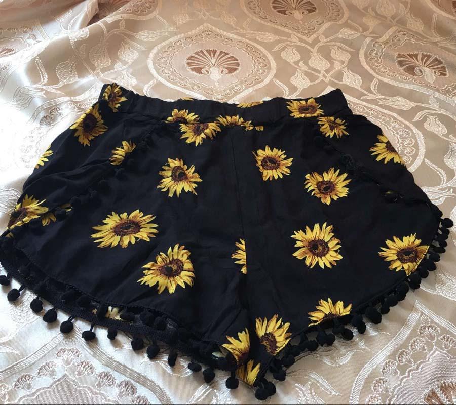 17 Summer Floral Pom Pom Ball Shorts Women Beach Tassel Bohemian National Wind Print Loose Women's Short Feminino Plus Size XL 9